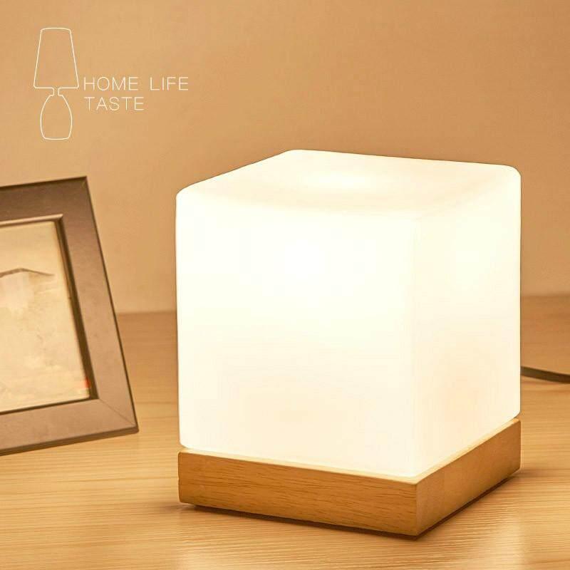 LED Simple Decorative Lamp Bedroom Bedside Lamp Creative Solid Wood Glass Bedside Lamp Restaurant Desk Warm Light Night Light Bedside Lamp - intl