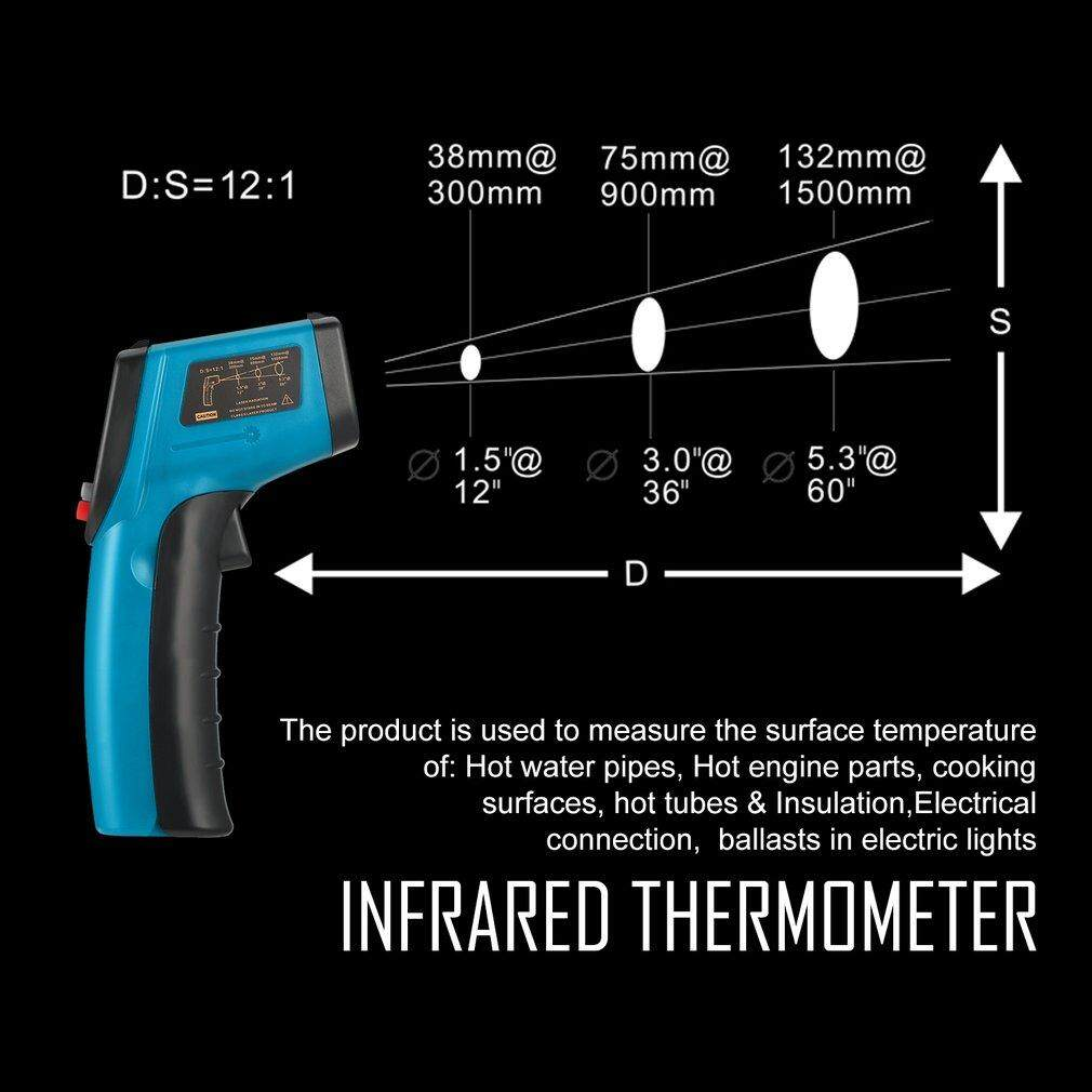 Allwin Non-Contact LCD IR Laser Digital Temperature Meter Sensor Infrared Thermometer Blue