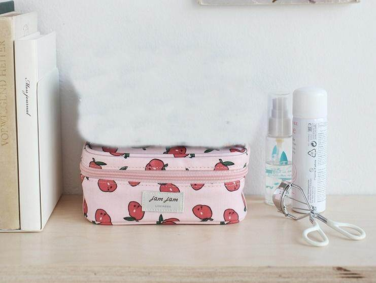 Bolster Store Korean Women Small Makeup Cosmetic Pouch Makeup Pouch Travel Organizer Bag Cute Cherry Print