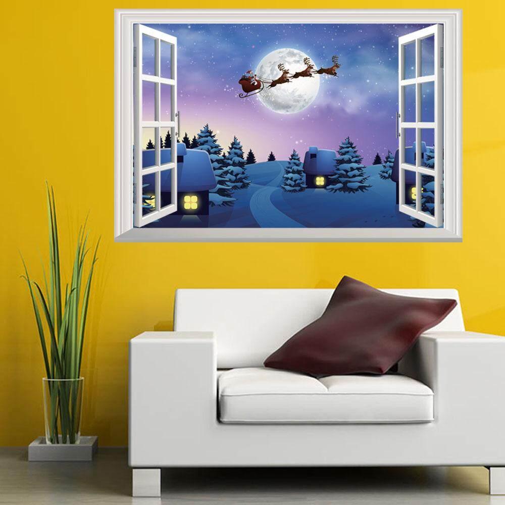 Dekorasi Natal 3D Jendela Dinding Stiker Living Room Televisi Dinding Stiker-Internasional .