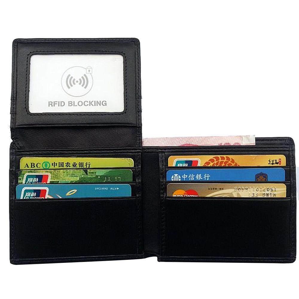 Womdee Pawaca Genuine Leather Wallet, RFID Blocking Minimalist Bifold Front Pocket Wallet For Men Women With Card Slots, Black - intl