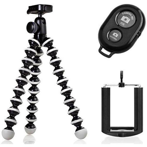 ALMM Joby GorillaPod Hybrid Flexible Tripod for Compact Cameras and a Universal Smartphone Mount Adapter w/ Ivation Wireless Bluetooth Camera Shutter Remote Control For iOS, Android and Most Smartphones - intl