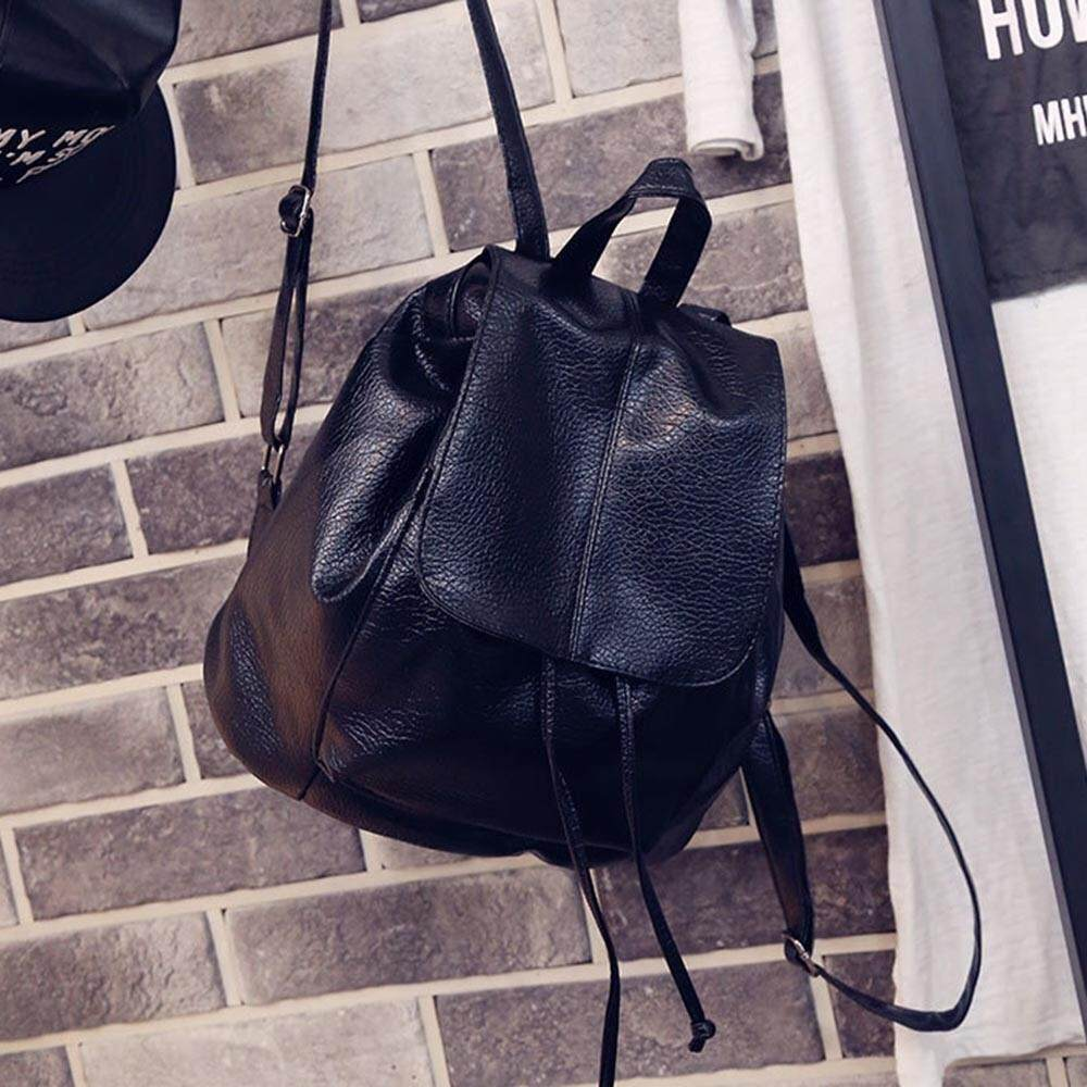 Fashion All-Match Womens Girls Drawstring Backpack Small Mini PU Leather - intl
