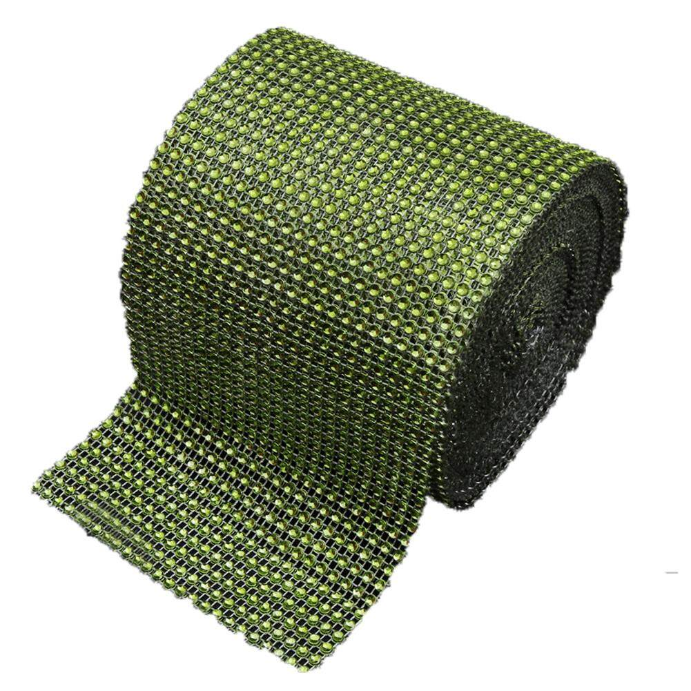 LumiParty Diamond Rhinestone Ribbon Wrap Bulk 4.6 inches width,Wedding Party Decorations Color:Grass Green Size:10 yards - intl