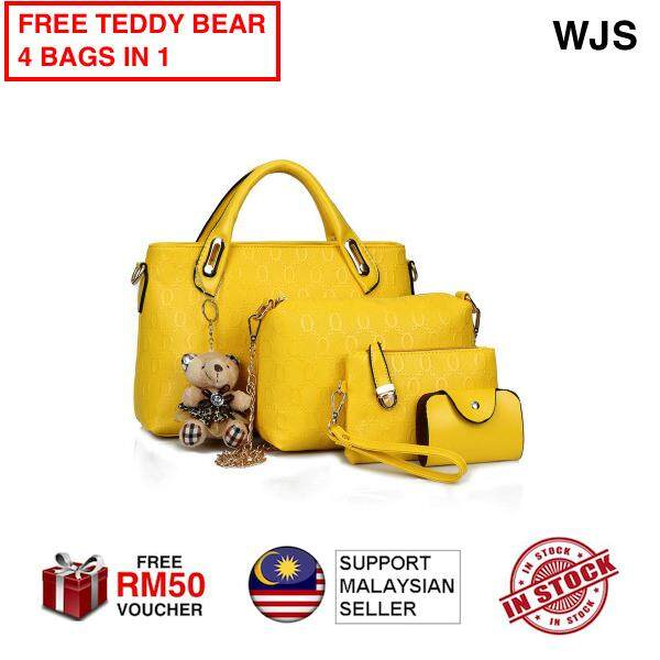 (FREE TEDDY BEAR) WJS 5pcs 5 pcs Latest Fashion Handbag MonCoeur B04 Set of 5 in 1 Luxury Faux Crocodile Leather HandBags Hand Bag BLACK BLUE GOLD RED PURPLE YELLOW FREE VOUCHER RM50 (5 BAGS)