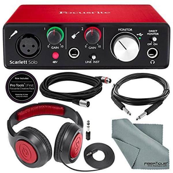 Focusrite Scarlett Solo USB Audio Interface (2nd Generation) Bundle with XLR Cable + 1/4 Inch Cable + Samson Studio Headphones + FiberTique Cleaning cloth… - intl