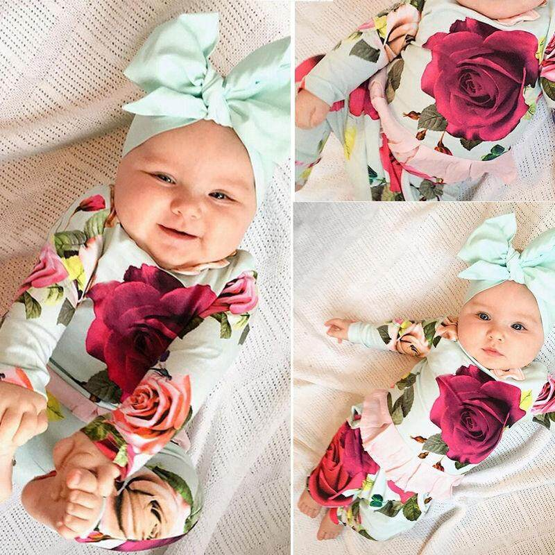 20cf39bee86a7 2pcs Newborn Toddler Infant Baby Girls Clothes T-shirt Tops+Pants Outfits  Set