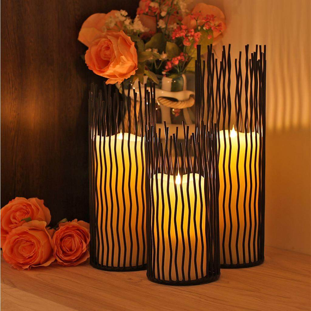 BolehDeals 3pcs/set Waving Iron Tea Light Holder Pillar Candle Candlesticks Candle Holder for Wedding Home Decor - intl