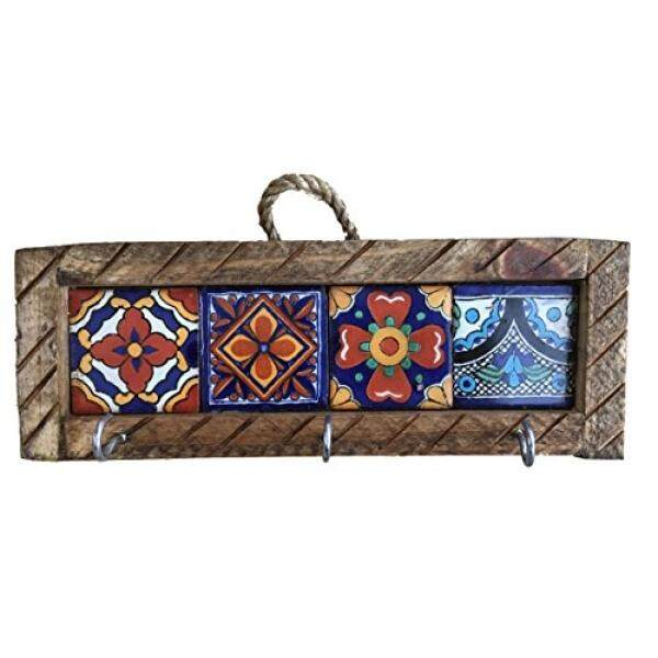 Key Holder with Metal Hooks and Colorful Talavera - Mexican Style - Assorted Tiles - intl