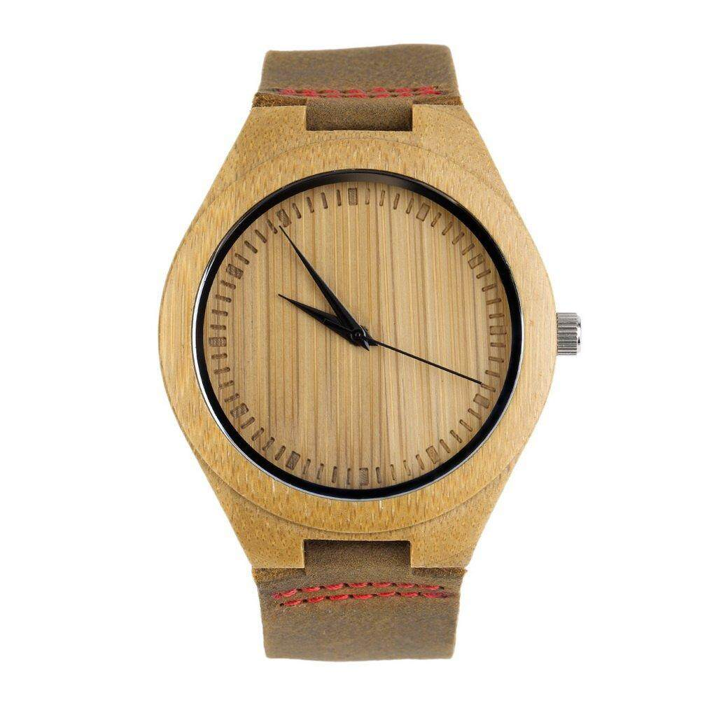 ERA baru Fashion jam tangan pria kulit asli Band jam kayu bambu (merah) - International