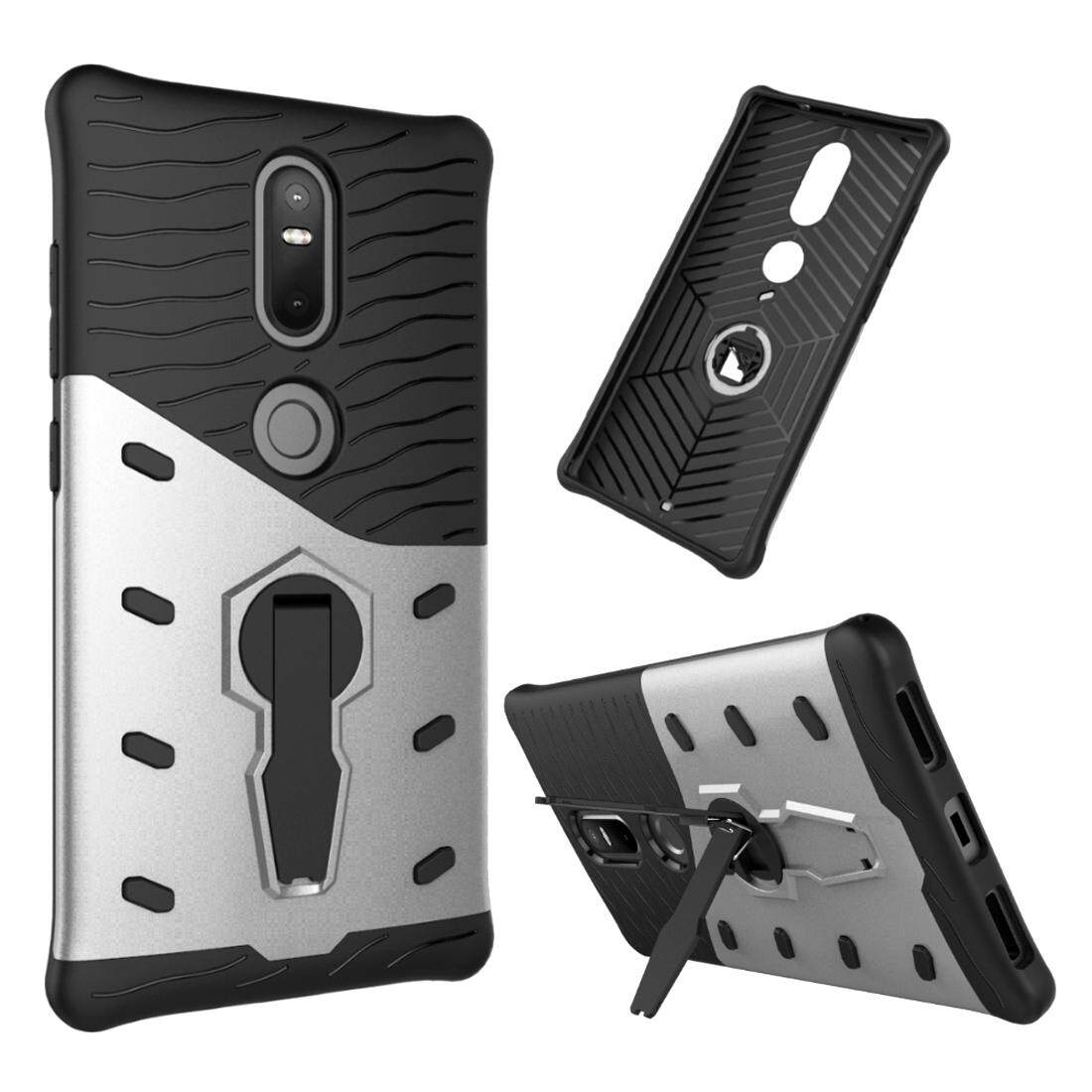 For Lenovo Phab2 Plus Shock-Resistant 360 Degree Spin Sniper Hybrid Case TPU + PC Combination Case with Holder(Silver) - intl