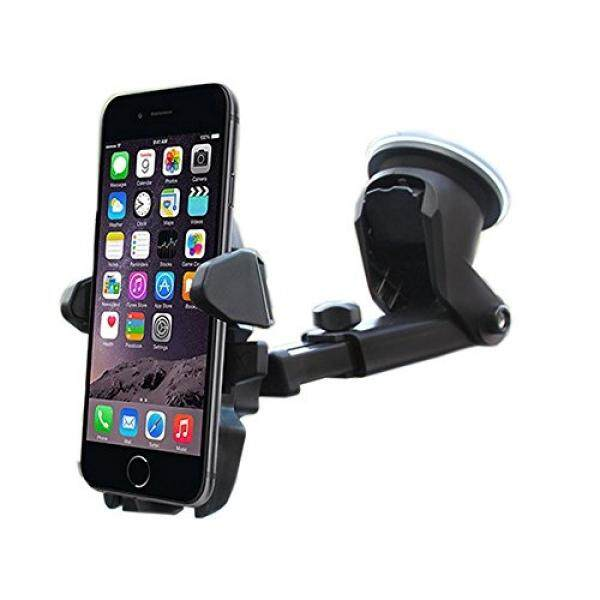 Car Mount Holder Cradle, Long Neck Phone Holder for Car Windshield with One Touch for iPhone Andriod Phone Samsung Huawei ZTE VIVO OPPO Google Pixel Galaxy Edge NEXUS LG Smartphone (Black) - intl