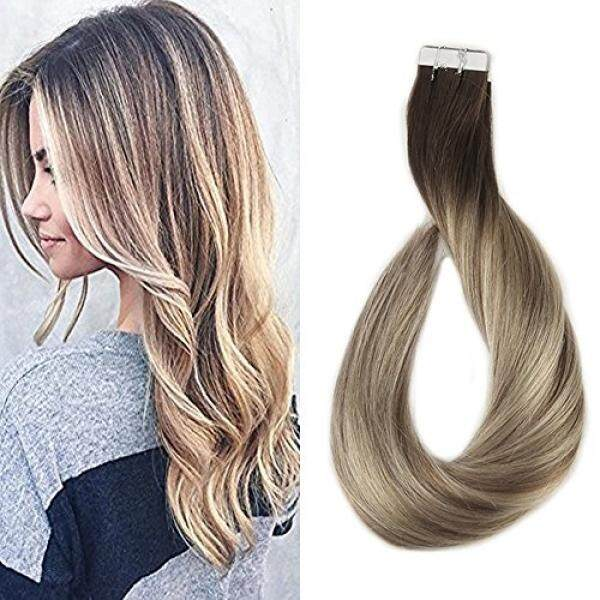 Full Shine 14 inch Tape in Hair Extensions Human Hair Ombre Balayage Hair Color Dark Brown Roots Color #3 Fading to #8 and #22 Blonde Highlighted Extensions 20 Pcs 50gram - intl
