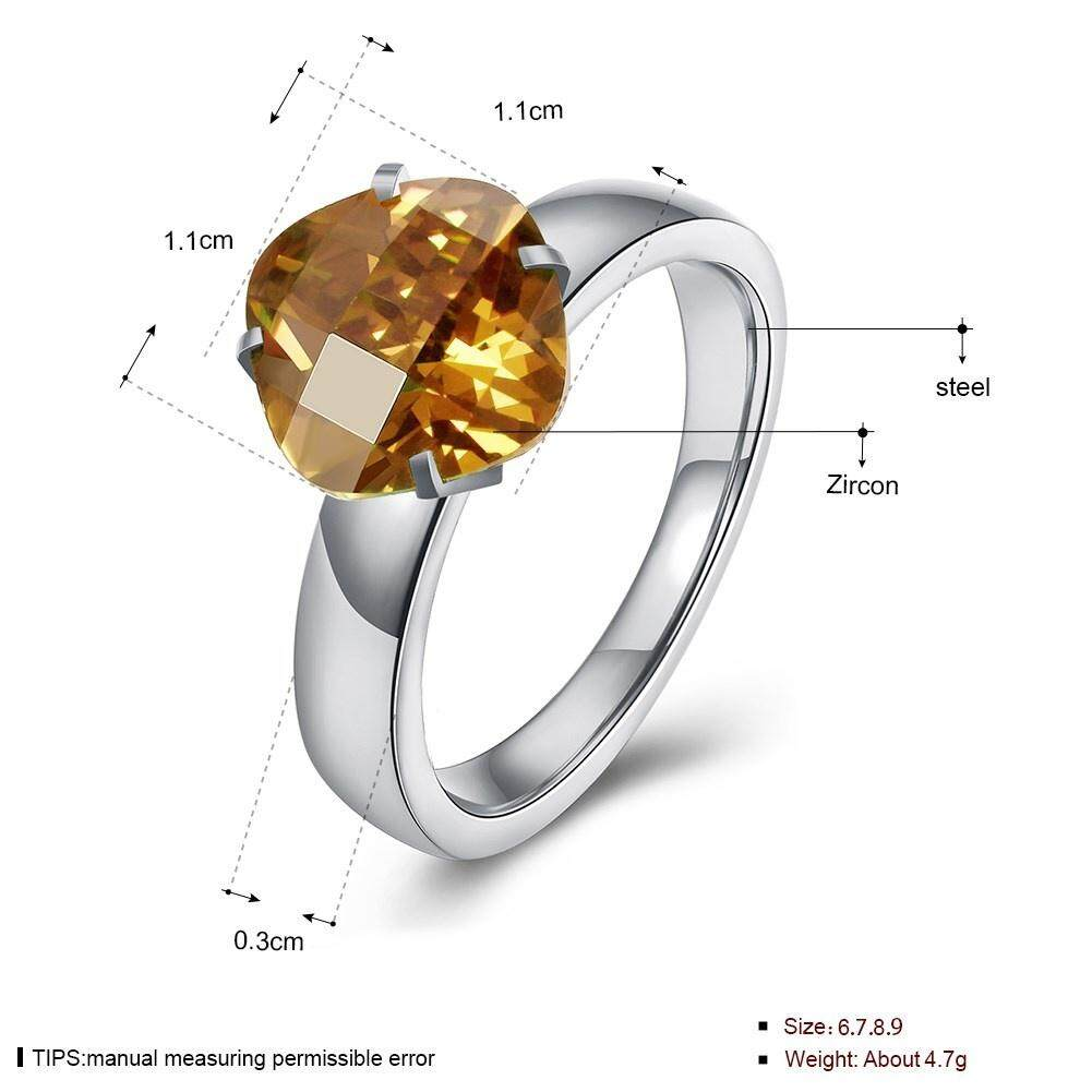 Kemstone Fashion Berlian Bening Cincin Lapis Perak Bulat Crystal Jari Cincin untuk Wanita