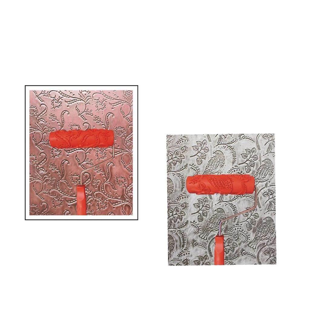 BolehDeals Bộ 2 cái 7 Dập Nổi Họa tiết hoa văn thanh Lăn Dụng Cụ Treo Tường DIY Trang Trí 5 #-quốc tế