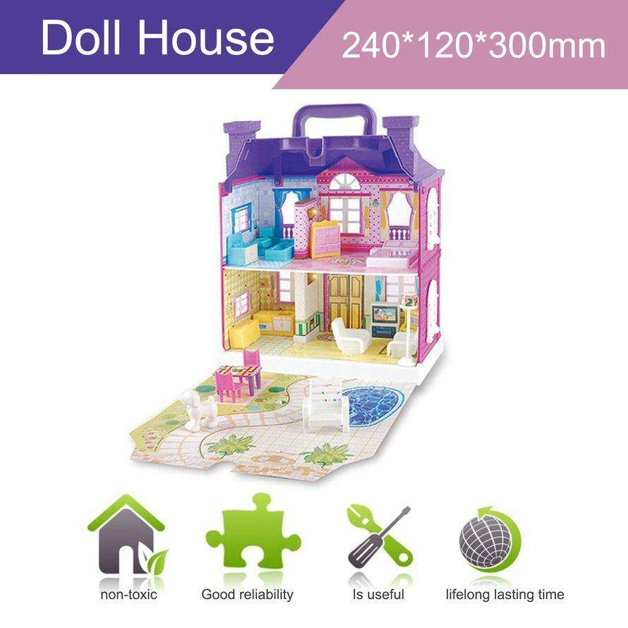 Osman Doll Rumah dengan Furniture Miniatur Rumah Rumah Boneka Merakit Mainan untuk Anak-anak Ungu