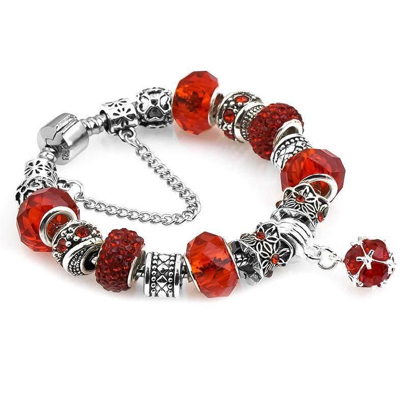 Silver Bracelet Crystal Charm Beads 20cm