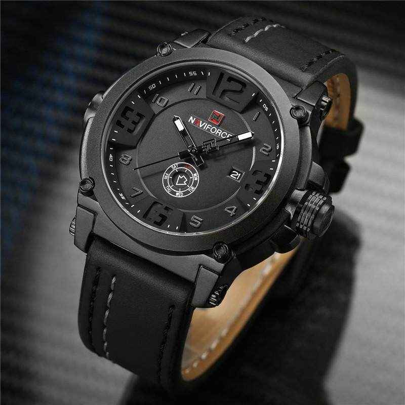 a5b4a8a8cb Naviforce Man Quartz Wrist Watch Stainless Steel Case Genuine Leather Strap  Men Male Watches Fashion Business