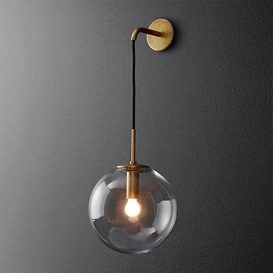 Nordic Industrial retro sphere diameter 15CM glass ball wall lamp sconces art Seminal Hotel aisle corridor restaurant bedroom wall lamp