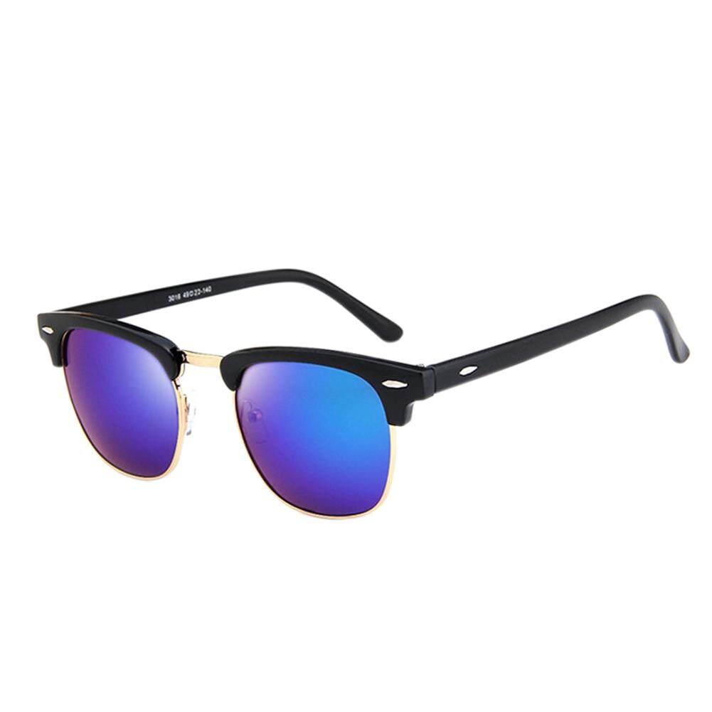 Dsstyles Retro Modis Setengah Bingkai HD Cermin Lensa Antik Kacamata Hitam untuk Pria Wanita Warna Lensa: cerah Hitam dan Hijau Keperakan Spesifikasi: 3016-Internasional