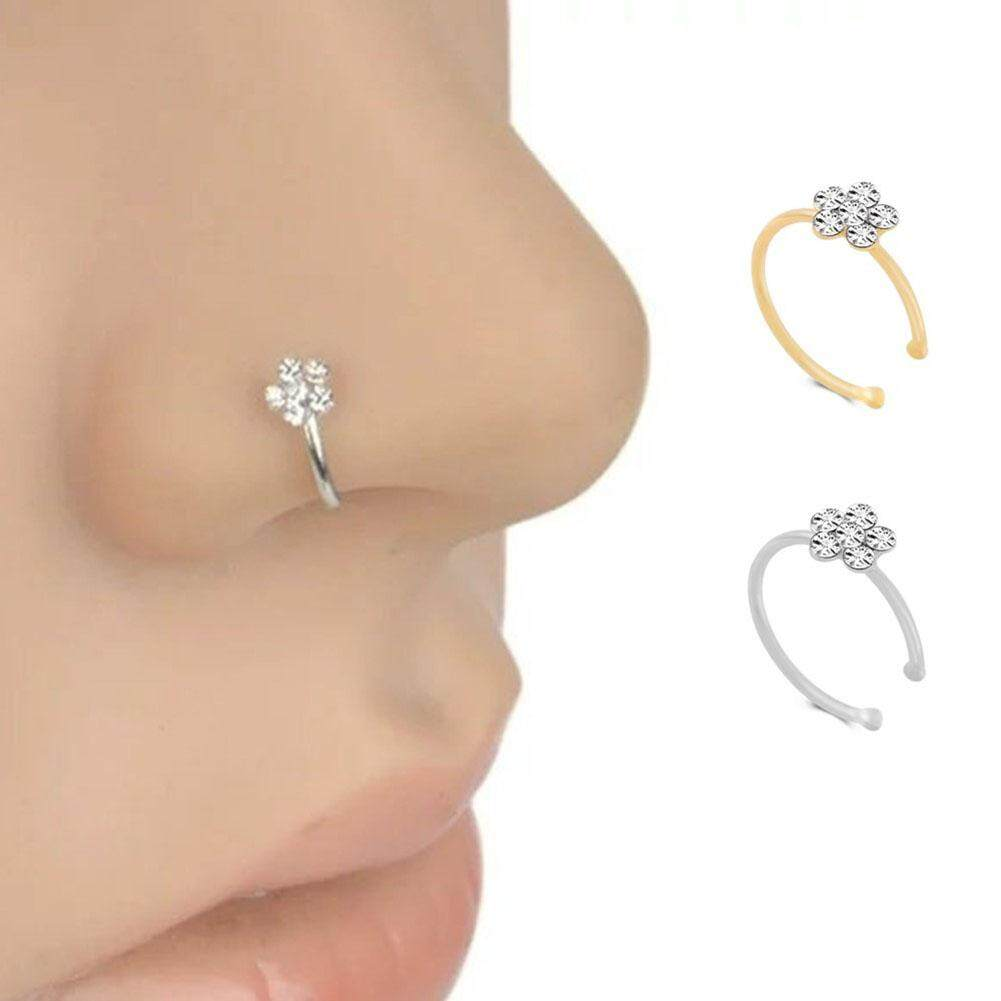 ❤skute Perhiasan Fashion Bedah Baja Bunga Berlian Buatan Kristal Cincin Hidung Ring Wanita Diamond Tubuh Perhiasan Tindik By Skute Official Store