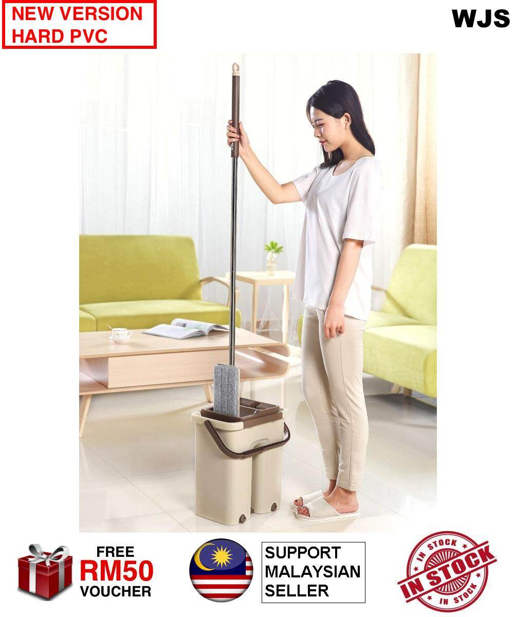 (EXTRA MOP CLOTH) WJS 2 in 1 Hands Free Wash Self-Wringing Microfibre Lazy Mop Flat Floor Stainless Steel Spin Mop 360 Degree Swivel Rotation Self-Cleaning Easy Squeeze with Bucket Scratch BEIGE GREEN [FREE RM 50 VOUCHER]