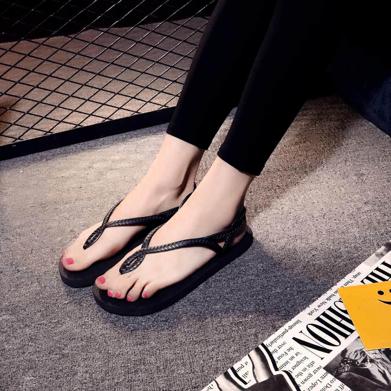 RHS Online Wanita Perempuan Datar Sepatu Sandal Musim Panas Pantai Non-slip Lipat Sandal Lipat Flops-Internasional