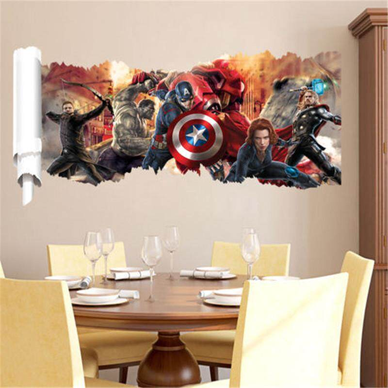 The Avengers Scroll 3D Removable Wall Decals Sticker Kids Decor Boys Gift
