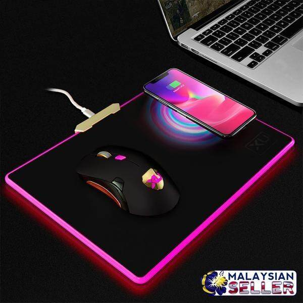 Multifunction W-01 LED Light Qi Wireless Charging Mouse Pad & Mouse Set