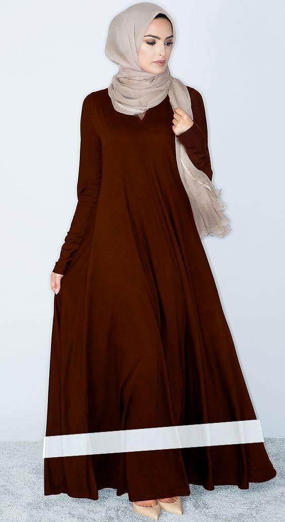 Fashion wear wide bottom jubah for muslimah - Daina strip