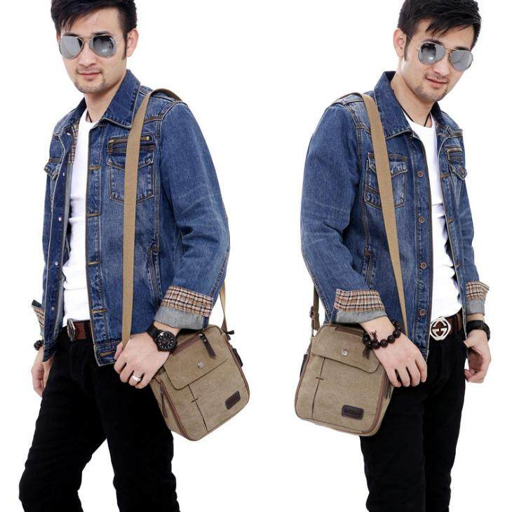 Men Vintage Canvas Multifunction Travel Satchel / Messenger Shoulder Bag ( Khaki) - intl