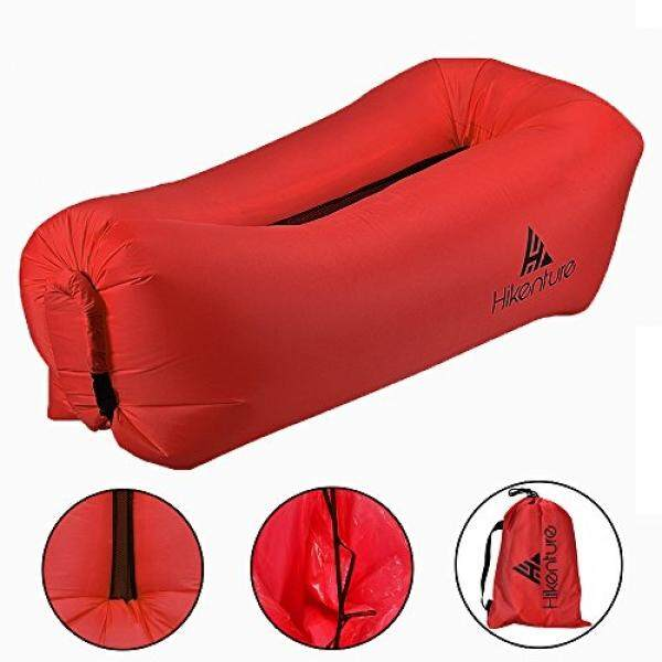 Inflatable Lounger Air Hammock by Hikenture - Outdoor Wind Filled Couch Pouch - Portable Blow Up Lounge Sofa Beach Chair - Camping, Hiking, Festival, Indoor Use (Red) - intl