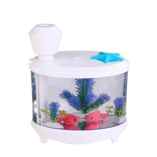 burmab 460ml USB Portable Small Fish Tank Cool Mist Aroma Humidifier Air Purifier with 7 Cloor LED Lights and Timer for Office Home Kids Bedroom(White) Singapore