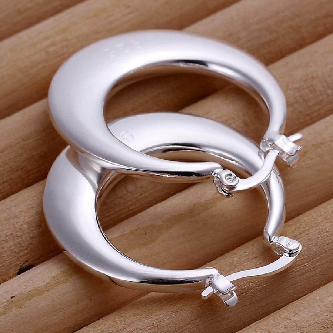 Wanita 925 Perak Berlapis Menawan Bulan Telinga Hoop Stud Anting-Anting Perhiasan-Internasional