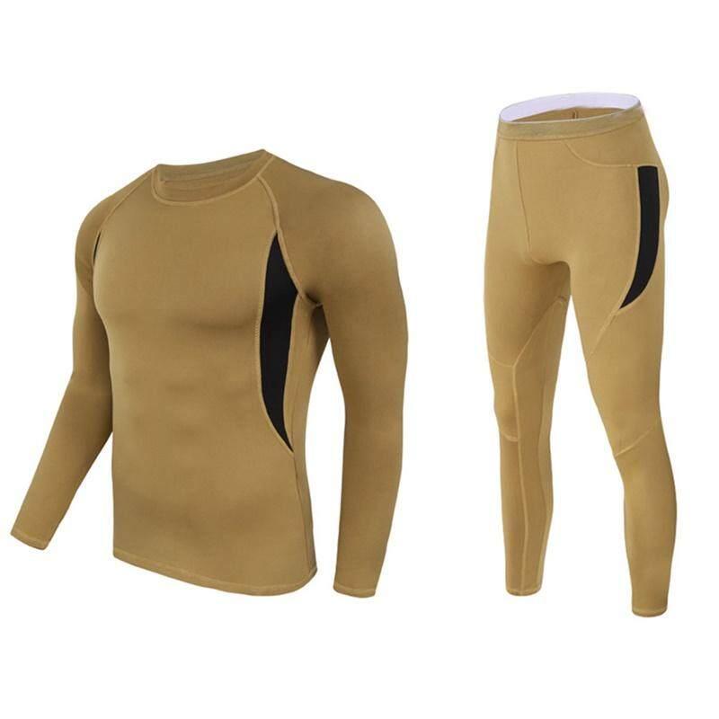 Hangat Bernapas Elastisitas Bulu Panas Pakaian Dalam Panjang Sleeves Kaus Celana Set Olahraga Pakaian untuk Pria Wanita Warna: serigala Coklat Ukuran: XL Keberuntungan-G-Internasional