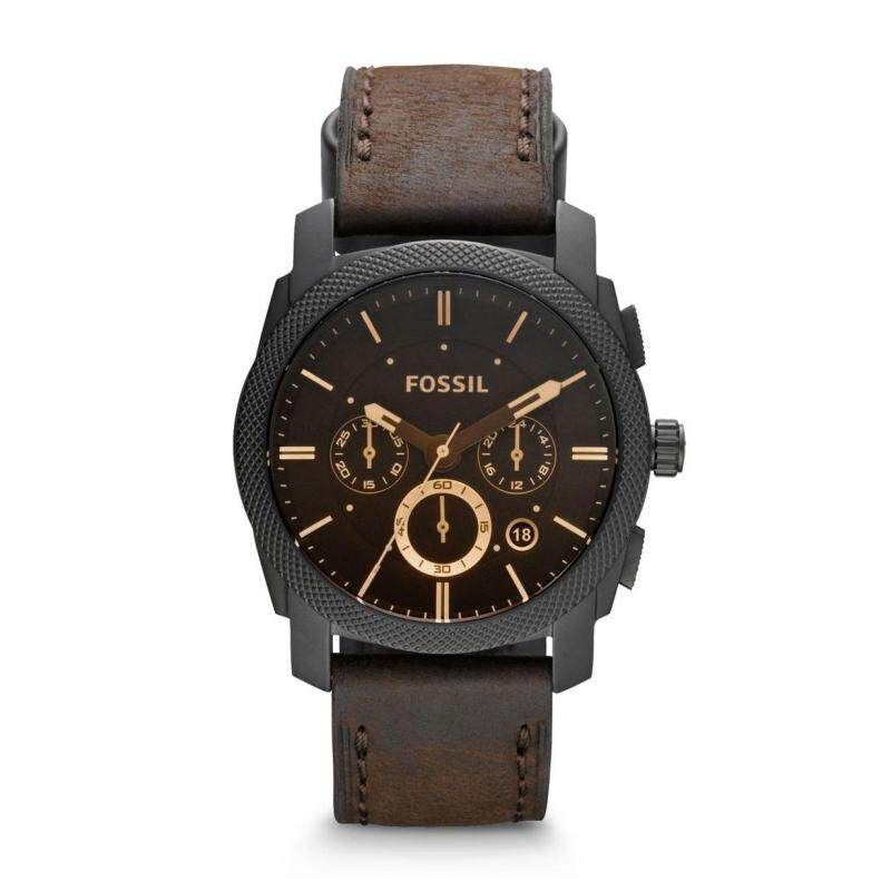 Fossil Mens Machine Mid Size Chronograph Leather Watch FS4656 Malaysia