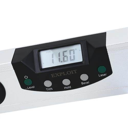 EXPLOIT HIGH PRECISION LASER DIGITAL DISPLAY HORIZONTAL ANGLE RULER (SILVER AND BLACK)