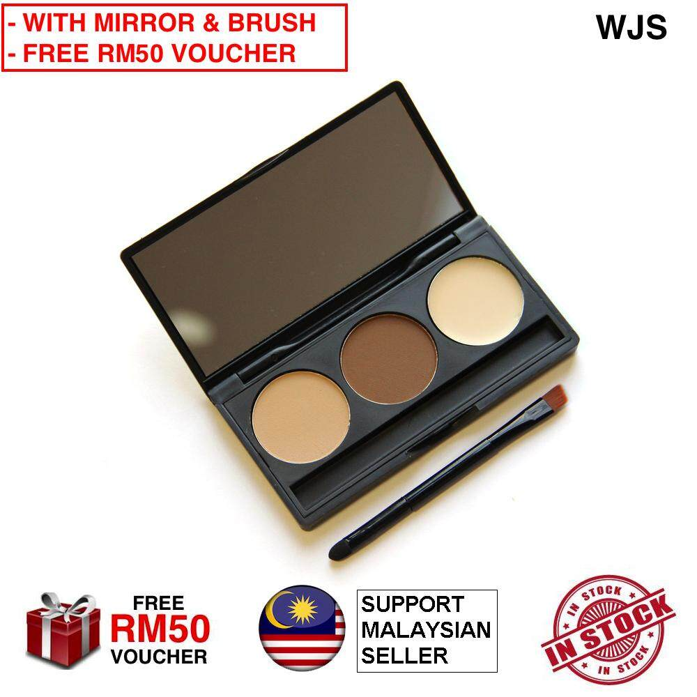 (WITH MIRROR & FREE BRUSH) WJS HALAL 3 Color Palette 3D Contouring Palette Makeup Eye Brow With Mirror & Brush Waterproof Eye Shadow Eyebrow Powder Make Up Palette Beauty Cosmetic MULTICOLOR BROWN SHADE (FREE RM50 VOUCHER)