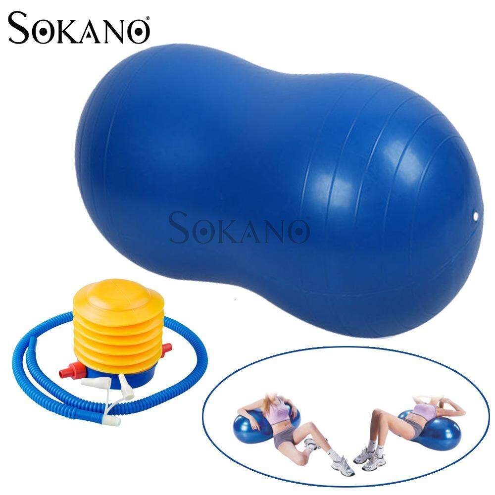 SOKANO Fitness PEANUT Shape Burst Resistant YOGA Ball (90cm x 45cm) with FREE Manual Pump - Blue