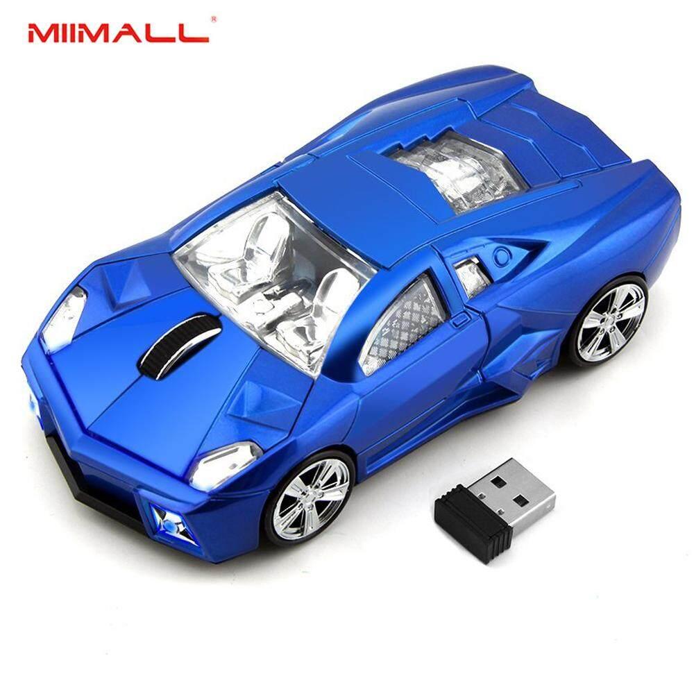 Miimall Keren Mobil Sport Bentuk 2.4 GHz Mouse Nirkabel 3 Tombol 1600 DPI Tinggi Kecepatan Pelacakan Mouse Optik Tikus Game dengan Penerima USB untuk PC Komputer Laptop- internasional