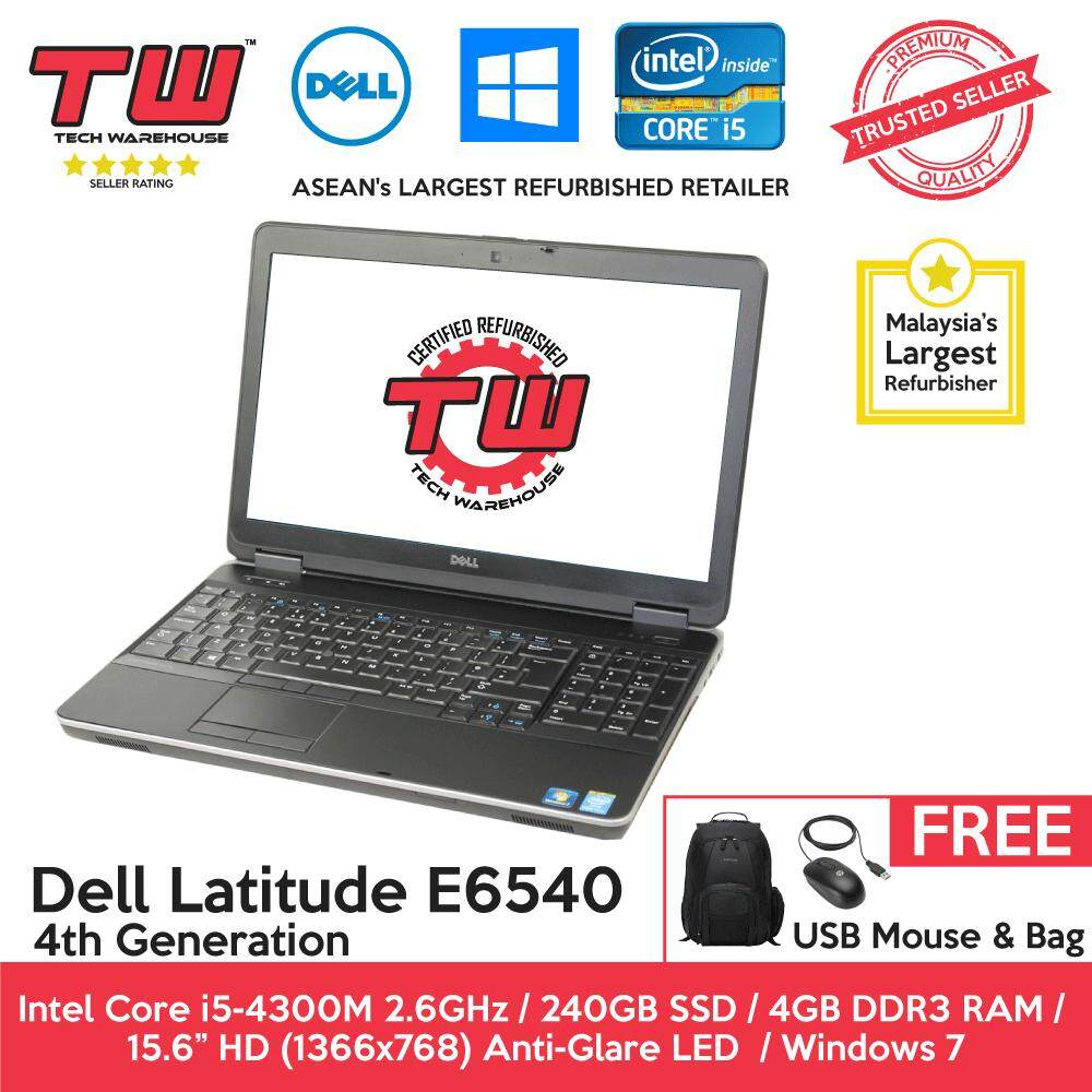 Dell Latitude E6540 Core i5 4th Generation / 4GB RAM / 240GB SSD Hard Disk / Windows 7 Laptop / 3 Month Warranty (Factory Refurbished) Malaysia