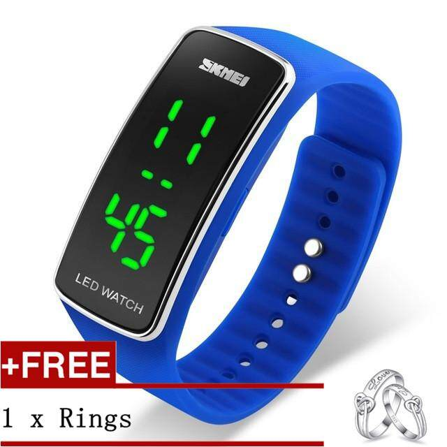 SKMEI 1119 Male and Female Student Children LED Watch Jelly Color Watch + Free a Couple Rings