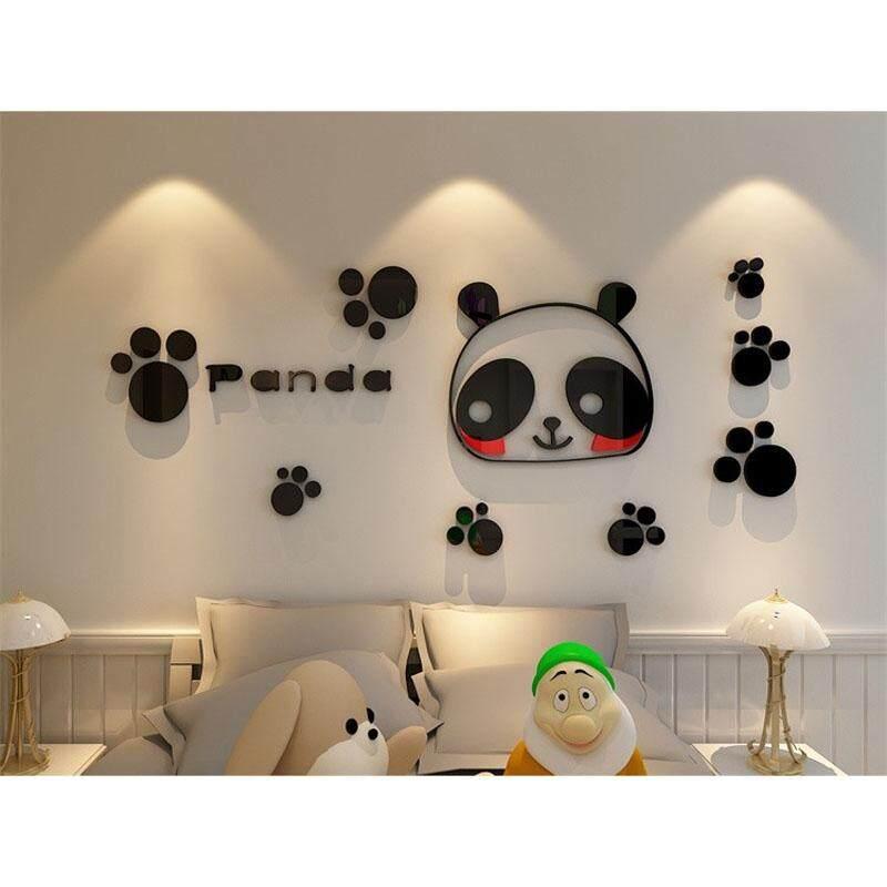 Lucu Kartun 3d Panda Akrilik Stiker Dinding Kamar Tidur Nursery Seni Dekorasi Decal Ukuran S