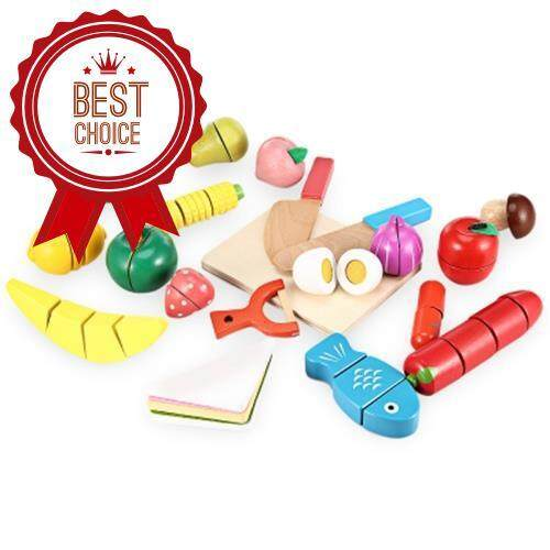 20PCS WOODEN CUTTING FRUITS AND VEGETABLES BARRELED TOY (COLORFUL) Toys for boys
