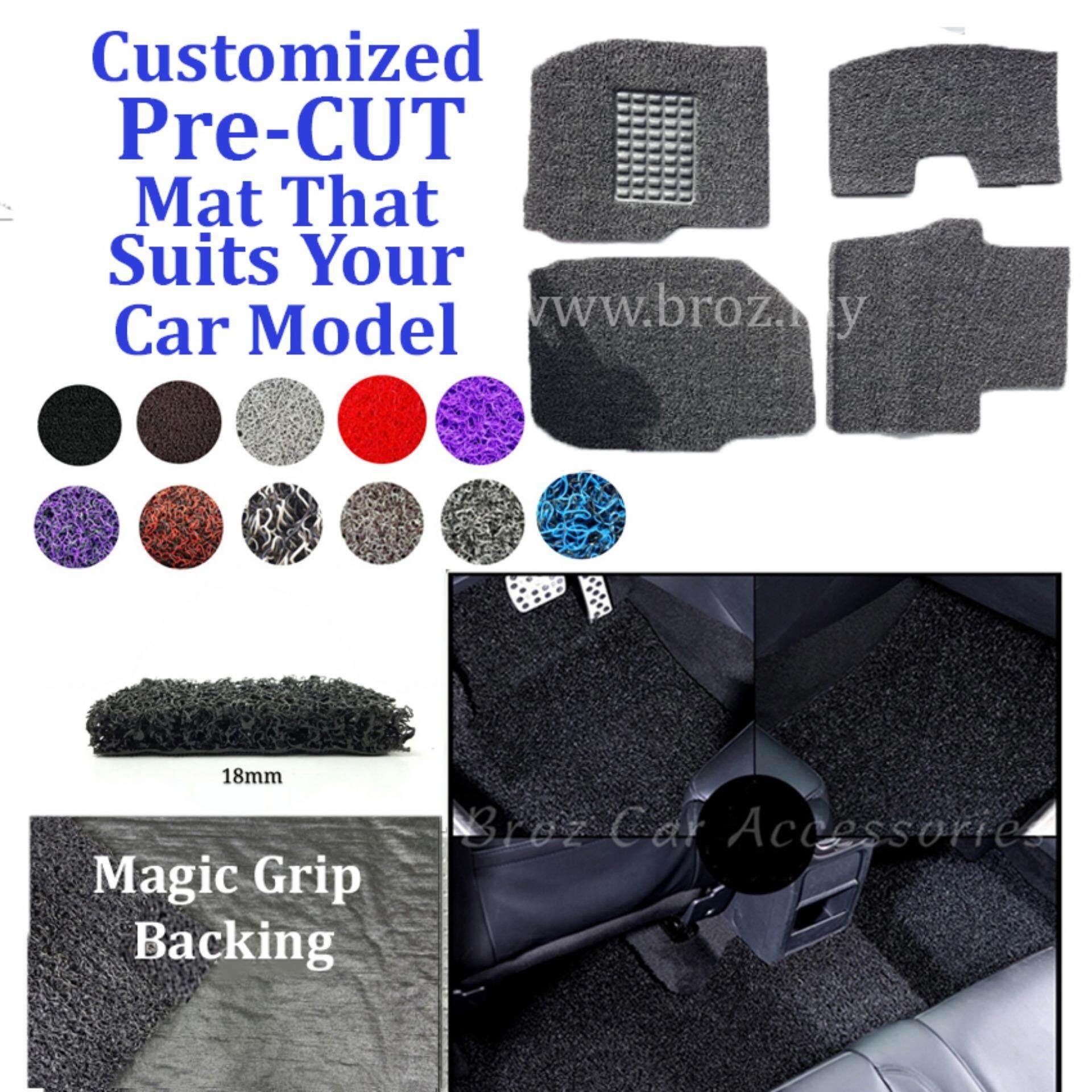 Broz Mercedes E-200 18MM Customized PRE CUT PVC Coil Floor Mat Anti Slip Carpet Magic Grip Backing - Grey Black