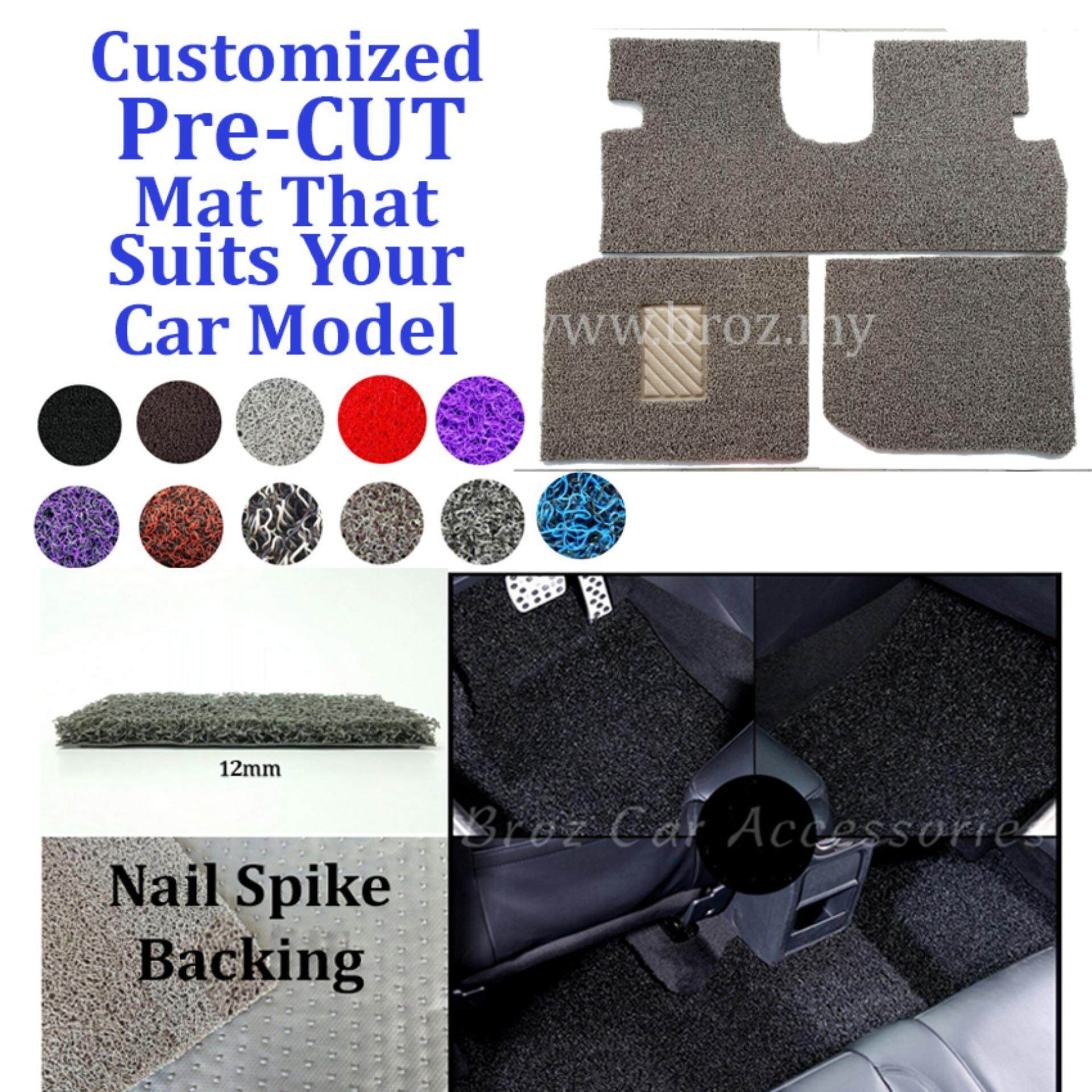 Broz Mercedes E-200 12MM Customized PRE CUT PVC Coil Floor Mat with Driver Rubber Pad Anti Slip Carpet Nail Spike Backing - Brown Beige