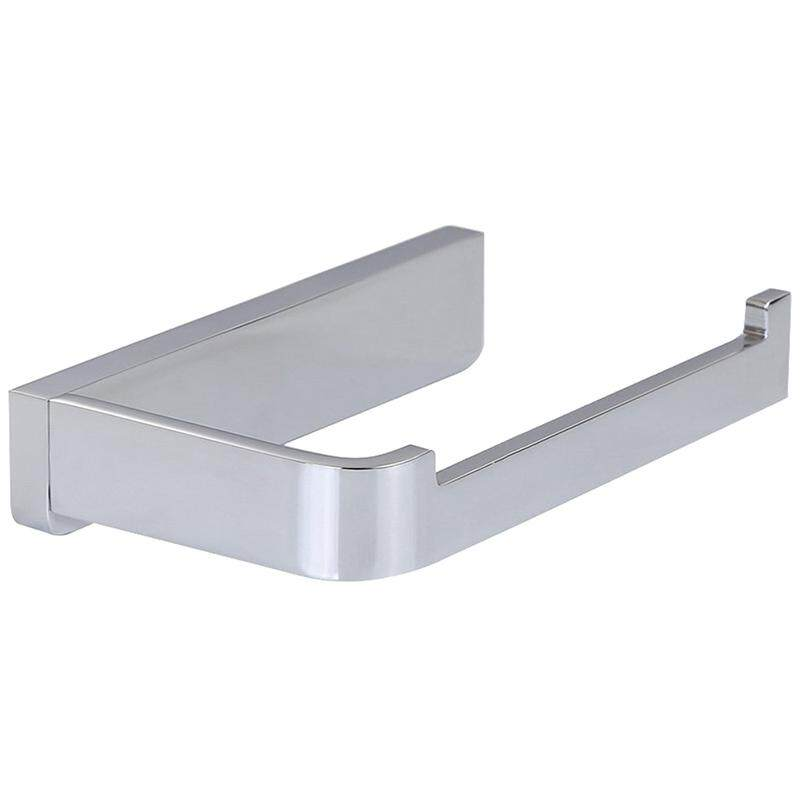 Bathroom Solid Brass Silver Wall Mounted Toilet Paper Holder Chrome Finish Contemporary