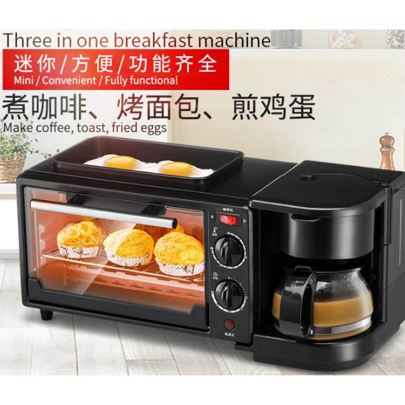 K&C 3 In1 Family Size Breakfast Center Toaster Oven Electric Frying Pan Griddle Pan Coffee Maker Breakfast Machine
