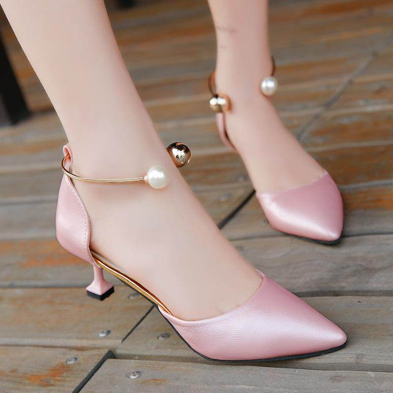 【free Shipping】summer New Korean Fashion Tip Fine With Low Heels String Pearls Womens Sandals - Intl By Travel Park.