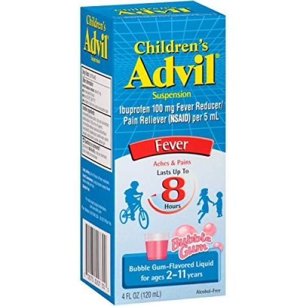 Advil Anak Demam Peredam/Pereda Nyeri, 100 Mg Ibuprofen (Gelembung Gum Flavor Einnehmen, 4 Fl. Ons. Botol)-Internasional